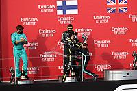 1st November 2020, Imola, Italy; FIA Formula 1 Grand Prix Emilia Romagna, Race Day;  On the podium winner Lewis Hamilton GB 44 , Mercedes AMG Petronas F1 Team, 2nd place for Valtteri Bottas FIN 77 , Mercedes AMG Petronas F1 Team, 3rd place for Daniel Ricciardo AUS 3 , Renault DP World F1 Team