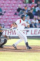 July 7, 2009: Salem-Keizer Volcanoes Eliezer Zambrano at-bat during a Northwest League game against the Tri-City Dust Devils at Volcanoes Stadium in Salem, Oregon.