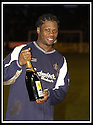 25/1/03       Copyright Pic : James Stewart                  .File Name : stewart-falkirk v hearts 13.COLLIN SAMUEL CELEBRATES AT THE END OF THE GAME WITH HIS MAN OF THE MATCH AWARD.......James Stewart Photo Agency, 19 Carronlea Drive, Falkirk. FK2 8DN      Vat Reg No. 607 6932 25.Office : +44 (0)1324 570906     .Mobile : + 44 (0)7721 416997.Fax     :  +44 (0)1324 570906.E-mail : jim@jspa.co.uk.If you require further information then contact Jim Stewart on any of the numbers above.........