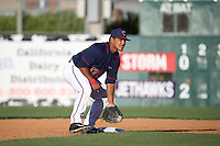 Ruben Castro (17) of the Lancaster JetHawks waits for a throw during a game against the Lake Elsinore Storm at The Hanger on August 29, 2015 in Lancaster, California. Lancaster defeated Lake Elsinore 7-4. (Larry Goren/Four Seam Images)