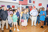 People gather for a Trump campaign office opening party in Salem, New Hampshire, on Fri., Sept. 18, 2020. Former 2016 Trump campaign manager and current 2020 Trump campaign senior advisor Corey Lewandowski, lives in nearby Windham, NH, spoke at the event, which also doubled as a surprise birthday celebration for Lewandowski.