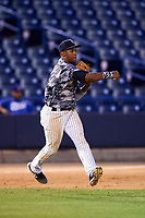 Tampa Yankees third baseman Abiatal Avelino (22) throws to second base during a game against the Bradenton Marauders on April 15, 2017 at George M. Steinbrenner Field in Tampa, Florida.  Tampa defeated Bradenton 3-2.  (Mike Janes/Four Seam Images)