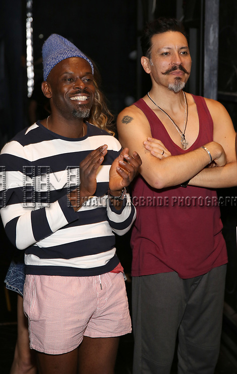 """Sahr Nguajah and Ricky Rojas during the Broadway Opening Night Legacy Robe Ceremony honoring Bahiyah Hibah for  """"Moulin Rouge! The Musical"""" at the Al Hirschfeld Theatre on July 25,2019 in New York City."""