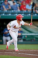 Springfield Cardinals third baseman Jacob Wilson (4) starts down the first base line during a game against the Corpus Christi Hooks on May 30, 2017 at Hammons Field in Springfield, Missouri.  Springfield defeated Corpus Christi 4-3.  (Mike Janes/Four Seam Images)