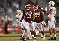 Arkansas defensive lineman Julius Coates (13) reacts, Saturday, November 7, 2020 during the fourth quarter of a football game at Donald W. Reynolds Razorback Stadium in Fayetteville. Check out nwaonline.com/201108Daily/ for today's photo gallery. <br /> (NWA Democrat-Gazette/Charlie Kaijo)