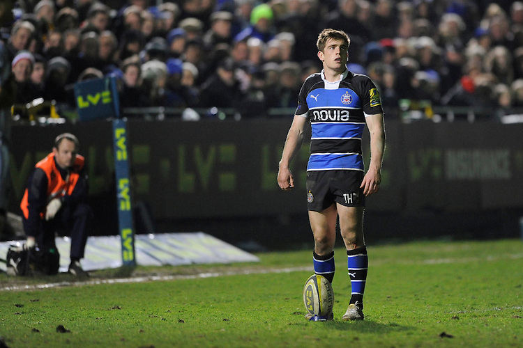 Tom Heathcote of Bath Rugby missed two penalty kicks during the LV= Cup semi final match between Bath Rugby and Leicester Tigers at The Recreation Ground, Bath (Photo by Rob Munro, Fotosports International)