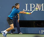 Joao Sousa (POR) loses to Novak Djokovic (SRB) 6-0, 6-2, 6-2 at the US Open being played at USTA Billie Jean King National Tennis Center in Flushing, NY on September 1, 2013