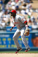 Brandon Phillips of the Cincinnati Reds during a game against the Los Angeles Dodgers in a 2007 MLB season game at Dodger Stadium in Los Angeles, California. (Larry Goren/Four Seam Images)