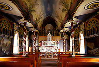 Architectural interior of the Painted Church in Kona, Hawaii.