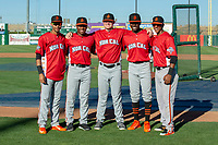 Representatives of the San Jose Giants pose for a photography prior to the 2018 California League All-Star Game at The Hangar on June 19, 2018 in Lancaster, California. The North All-Stars defeated the South All-Stars 8-1.  (Donn Parris/Four Seam Images)