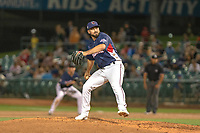 Reid Humphreys (37) of the Lancaster JetHawks delivers a pitch to the plate against the North Division during the 2018 California League All-Star Game at The Hangar on June 19, 2018 in Lancaster, California. The North All-Stars defeated the South All-Stars 8-1.  (Donn Parris/Four Seam Images)