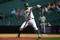 Baylor Bears relief pitcher Logan Freeman (44) in action against the Missouri Tigers in game one of the 2020 Shriners Hospitals for Children College Classic at Minute Maid Park on February 28, 2020 in Houston, Texas. The Bears defeated the Tigers 4-2. (Brian Westerholt/Four Seam Images)