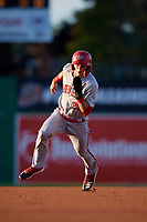 Auburn Doubledays Cody Wilson (23) running the bases during a NY-Penn League game against the Batavia Muckdogs on August 31, 2019 at Dwyer Stadium in Batavia, New York.  Auburn defeated Batavia 12-5.  (Mike Janes/Four Seam Images)