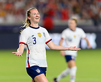 HOUSTON, TX - JUNE 10: Samantha Mewis #3 of the United States celebrates her goal in the second half during a game between Portugal and USWNT at BBVA Stadium on June 10, 2021 in Houston, Texas.