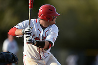 Ball State Cardinals catcher Jarett Rindfleisch (25) during a game against the Maine Black Bears on March 3, 2015 at North Charlotte Regional Park in Port Charlotte, Florida.  Ball State defeated Maine 8-7.  (Mike Janes/Four Seam Images)