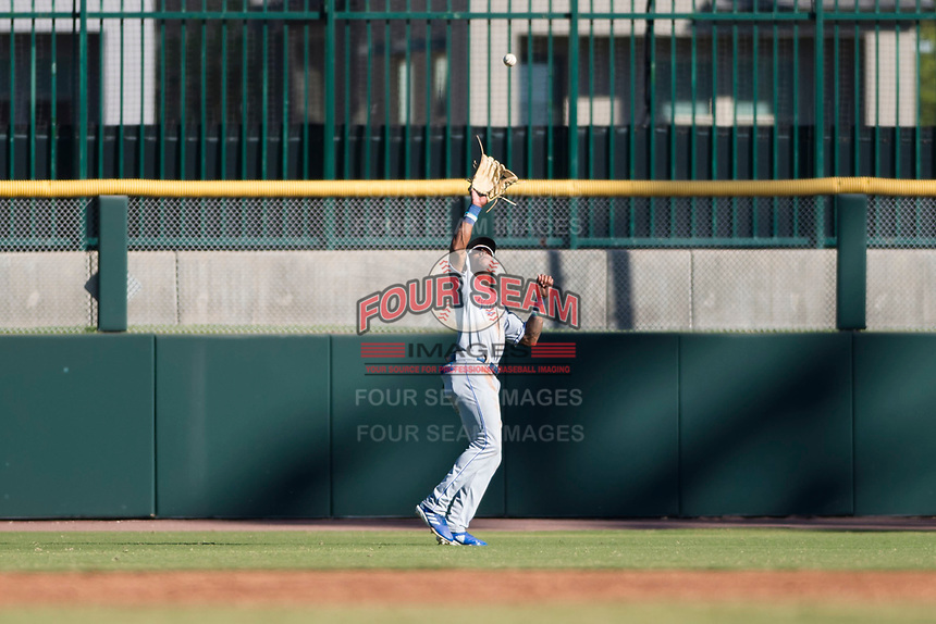 Surprise Saguaros right fielder Nick Heath (21), of the Kansas City Royals organization, prepares to catch a fly ball during an Arizona Fall League game against the Scottsdale Scorpions at Scottsdale Stadium on October 26, 2018 in Scottsdale, Arizona. Surprise defeated Scottsdale 3-1. (Zachary Lucy/Four Seam Images)
