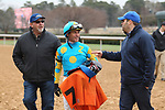 HOT SPRINGS, AR - JANUARY 15: Jockey Gary Stevens talking strategy after winning the 7th race at Oaklawn Park on January 15, 2018 in Hot Springs, Arkansas. (Photo by Justin Manning/Eclipse Sportswire/Getty Images)