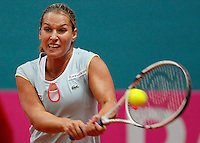 Slovakia's player Dominika Cibulkova returns the ball towards Serbia's player Bojana Jovanovska, during the World Group play-off Fed Cup match in Bratislava, Slovakia, Saturday, Apr. 16, 2011. (Srdjan Stevanovic/Starsportphoto ©).