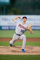 Buffalo Bisons starting pitcher Jacob Waguespack (35) delivers a pitch during a game against the Syracuse Chiefs on September 2, 2018 at NBT Bank Stadium in Syracuse, New York.  Syracuse defeated Buffalo 4-3.  (Mike Janes/Four Seam Images)