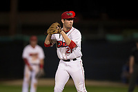 Orem Owlz relief pitcher Kyle Tyler (21) gets ready to deliver a pitch during a Pioneer League game against the Ogden Raptors at Home of the OWLZ on August 24, 2018 in Orem, Utah. The Ogden Raptors defeated the Orem Owlz by a score of 13-5. (Zachary Lucy/Four Seam Images)