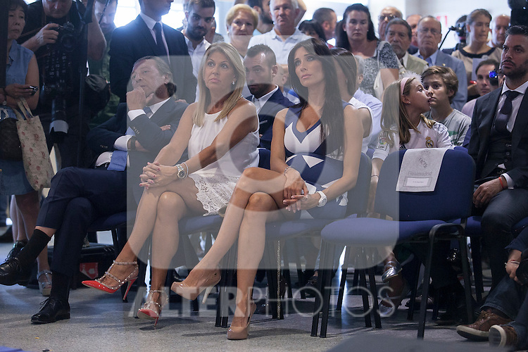 Real Madrid's defender and captain Sergio Ramos and his wife Pilar Rubio during a press conference announcing his contract renewal  in Madrid, Spain. August 17, 2015. (ALTERPHOTOS/Victor Blanco)