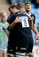Photo: Richard Lane/Richard Lane Photography. Wasps v Newcastle Falcons.  Anglo-Welsh Cup. 04/11/2017. Wasps' Jack Willis celebrates his try with brother, Tom Willis.