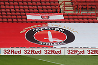 A larger banner in the stand celebrates one hundred years for Charlton Athletic at The Valley during Charlton Athletic vs Reading, Sky Bet EFL Championship Football at The Valley on 11th July 2020