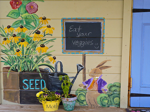 Mural at the Childrens garden at Yarmouth Community garden, Yarmouth Maine