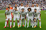 Real Madrid´s players before the Champions League semi final soccer match between Real Madrid and Juventus at Santiago Bernabeu stadium in Madrid, Spain. May 13, 2015. (ALTERPHOTOS/Victor Blanco)