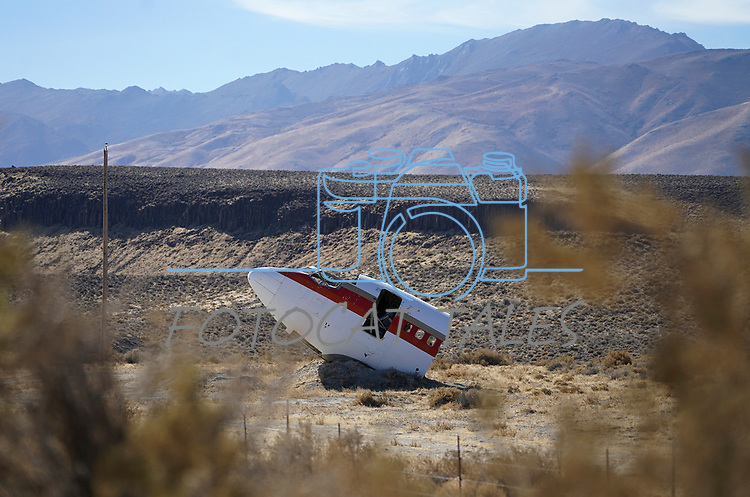 Part of a plane at the Iversen Ranch, near Gerlach, Nev., on Friday, Oct. 30, 2020. <br /> Photo by Cathleen Allison