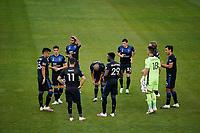 SAN JOSE, CA - SEPTEMBER 16: San Jose Earthquakes huddle before a game between Portland Timbers and San Jose Earthquakes at Earthquakes Stadium on September 16, 2020 in San Jose, California.