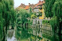 Ljubljiana River flows through historic city center of Lubljiana, Slovenia, AGPix_0556.