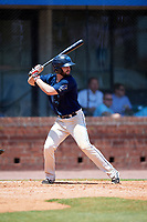 Mobile BayBears second baseman Andrew Daniel (13) at bat during a game against the Pensacola Blue Wahoos on April 26, 2017 at Hank Aaron Stadium in Mobile, Alabama.  Pensacola defeated Mobile 5-3.  (Mike Janes/Four Seam Images)
