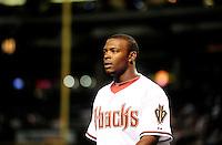 Apr. 6, 2010; Phoenix, AZ, USA; Arizona Diamondbacks outfielder Justin Upton against the San Diego Padres at Chase Field. Mandatory Credit: Mark J. Rebilas-
