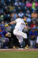 Bradenton Marauders catcher Reese McGuire (7) at bat during a game against the St. Lucie Mets on April 11, 2015 at McKechnie Field in Bradenton, Florida.  St. Lucie defeated Bradenton 3-2.  (Mike Janes/Four Seam Images)