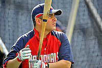 20 June 2008: Washington Nationals' catcher Paul Lo Duca takes batting practice prior to the first game of their series against the Texas Rangers at Nationals Park in Washington, DC. The Nationals rallied in the eighth to tie, and then win 4-3 in the 14th inning of their inter-league matchup...Mandatory Photo Credit: Ed Wolfstein Photo