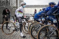 World Champion Julian Alaphilippe (FRA/Deceuninck - QuickStep) at the race start in LIège<br /> <br /> 107th Liège-Bastogne-Liège 2021 (1.UWT)<br /> 1 day race from Liège to Liège (259km)<br /> <br /> ©kramon
