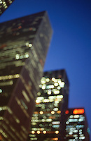 AVAIILABLE FROM GETTY IMAGES FOR COMMERCIAL AND EDITORIAL LICENSING.  Please go to www.gettyimages.com and search for image # 200347640-001.<br /> <br /> Office Buildings on Sixth Avenue at Dusk, Midtown Manhattan, New York City, New York State, USA..<br /> <br /> Original image photographed on 35mm transparency film.