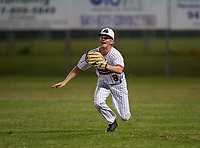 Sarasota Sailors outfielder Garrett Browning (9) attempts a diving catch on a fly ball during a game against the Riverview Rams on February 19, 2021 at Rams Baseball Complex in Sarasota, Florida. (Mike Janes/Four Seam Images)