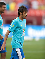 Landover, MD - Tuesday, May 28, 2012: Neymar during warm ups before an international friendly against the USA at FedEx Field.
