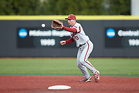 Arkansas Razorbacks shortstop Jax Biggers (9) fields a ground ball during the game against the Charlotte 49ers at Hayes Stadium on March 21, 2018 in Charlotte, North Carolina.  The 49ers defeated the Razorbacks 6-3.  (Brian Westerholt/Four Seam Images)