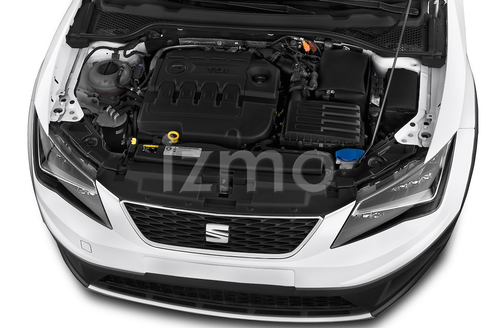 Car Stock 2015 Seat Leon Style Copa 4 Door Hatchback Engine high angle detail view