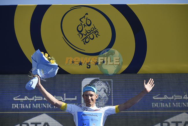 Magnus Cort Nielsen (DEN) Astana Pro Team takes over the Young Riders White Jersey after Stage 4 The Municipality Stage of the Dubai Tour 2018 the Dubai Tour's 5th edition, running 172km from Skydive Dubai to Hatta Dam, Dubai, United Arab Emirates. 9th February 2018.<br /> Picture: LaPresse/Fabio Ferrari | Cyclefile<br /> <br /> <br /> All photos usage must carry mandatory copyright credit (© Cyclefile | LaPresse/Fabio Ferrari)