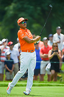4th July 2021, Detroit, MI, USA;  Rickie Fowler (USA) watches his tee shot on 5 during the Rocket Mortgage Classic Rd4 at Detroit Golf Club on July 4,