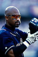 Greg Vaughn of the San Diego Padres participates in a Major League Baseball game at Dodger Stadium during the 1998 season in Los Angeles, California. (Larry Goren/Four Seam Images)