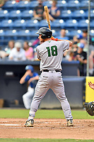 Augusta GreenJackets third baseman Jacob Gonzalez (18) awaits a pitch during a game against the Asheville Tourists at McCormick Field on August 20, 2018 in Asheville, North Carolina. The GreenJackets defeated the Tourists 2-1. (Tony Farlow/Four Seam Images)