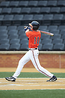 Tanner Morris (10) of the Virginia Cavaliers follows through on his swing against the Wake Forest Demon Deacons at David F. Couch Ballpark on May 18, 2018 in  Winston-Salem, North Carolina.  The Cavaliers defeated the Demon Deacons 15-3.  (Brian Westerholt/Four Seam Images)