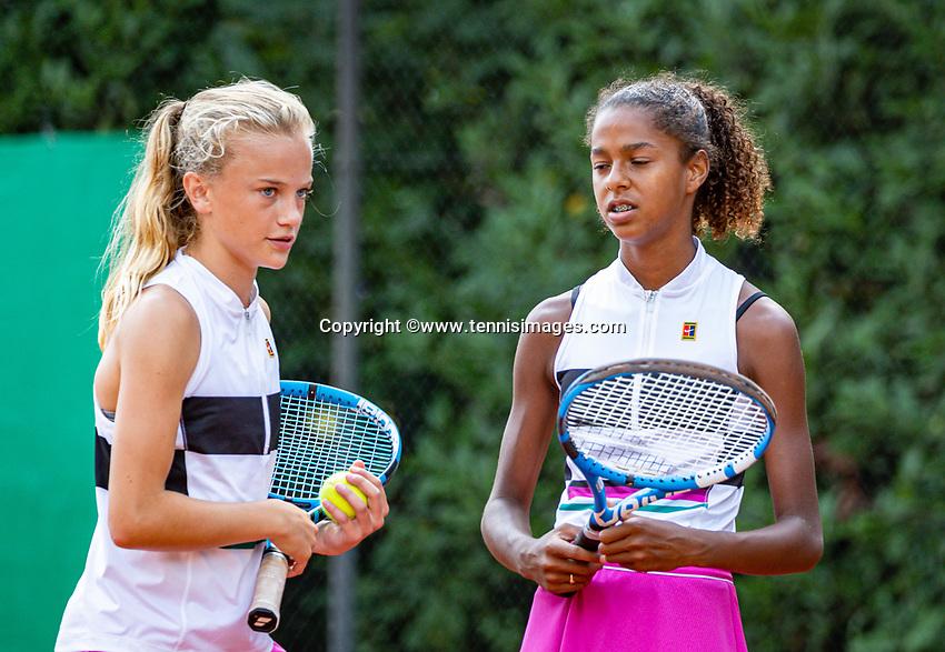 Hilversum, Netherlands, Juli 31, 2019, Tulip Tennis center, National Junior Tennis Championships 12 and 14 years, NJK, Girls Doubles:`Jayden Lonwijk (R) and Evi Roobol (NED)<br /> Photo: Tennisimages/Henk Koster