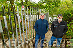 Tony Casey and Tony Stack from Listowel standing near the barrier erected on the Bluebell Walkway in Listowel on Tuesday.