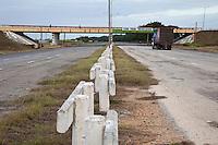 Cuba, Cienfuegos.  Traffic on Divided, Four-Lane Highway Linking Havana and Cienfuegos.